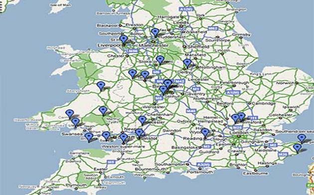 Harta aparițiilor OZN raportate de autoritățile din Marea Britanie