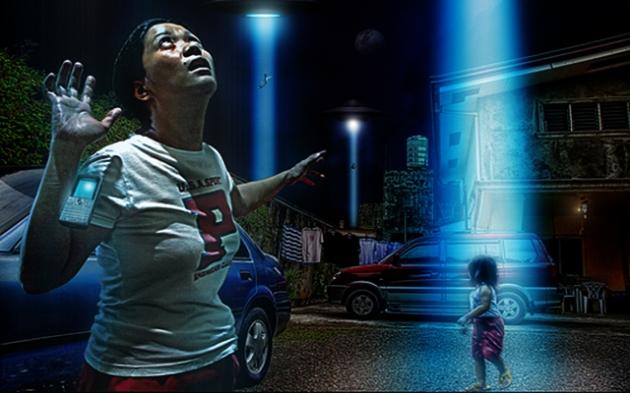 """Imagine tematică a unei """"răpiri"""" în grup de ființe extraterestre"""